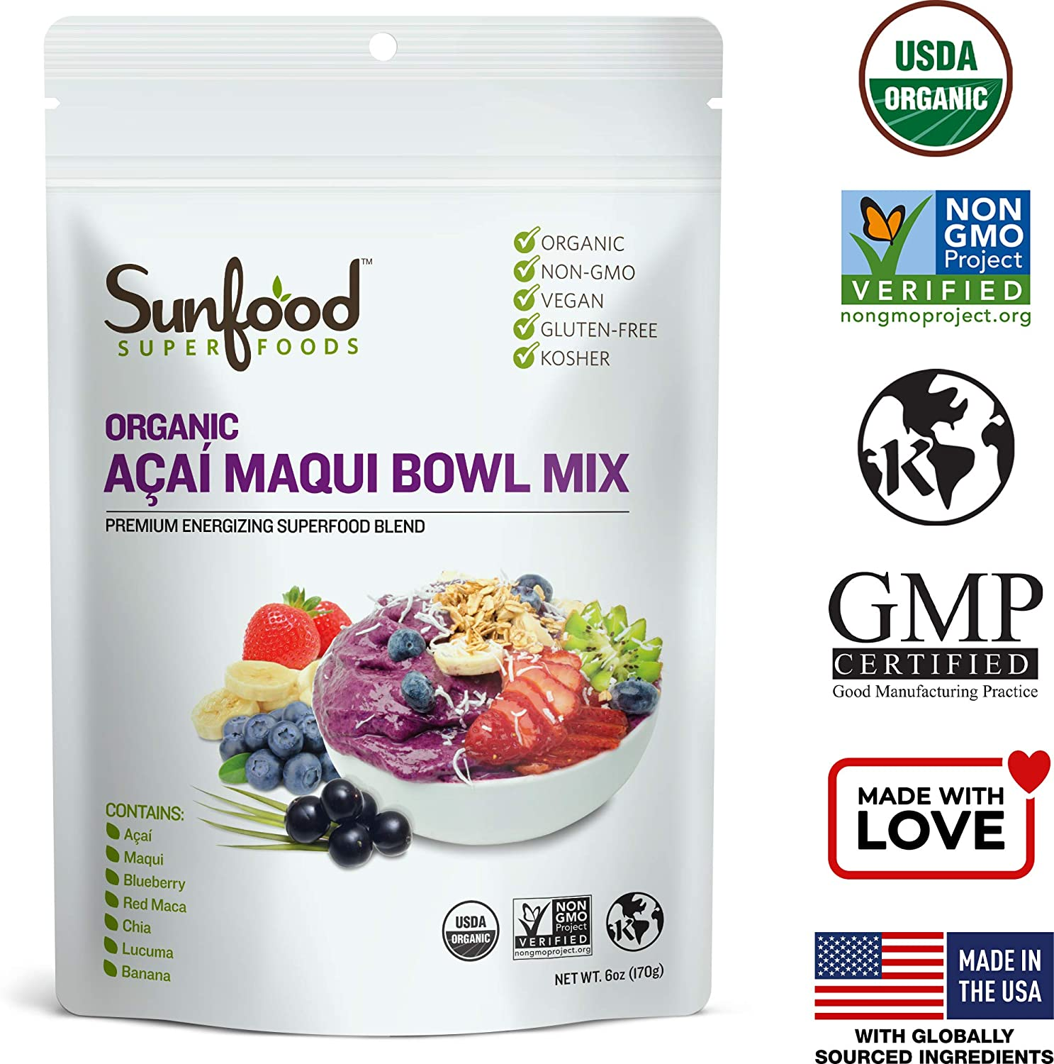 Amazon Com Sunfood Superfoods Acai Maqui Bowl Mix Powder No