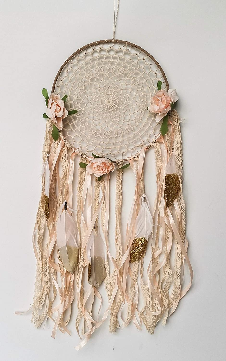 Gold Boho Decor Dream Catcher for Kids Floral Nursery Decor for Girls Bedroom Wall Decorations Peach Pink Rose Gold by So Cal Pro