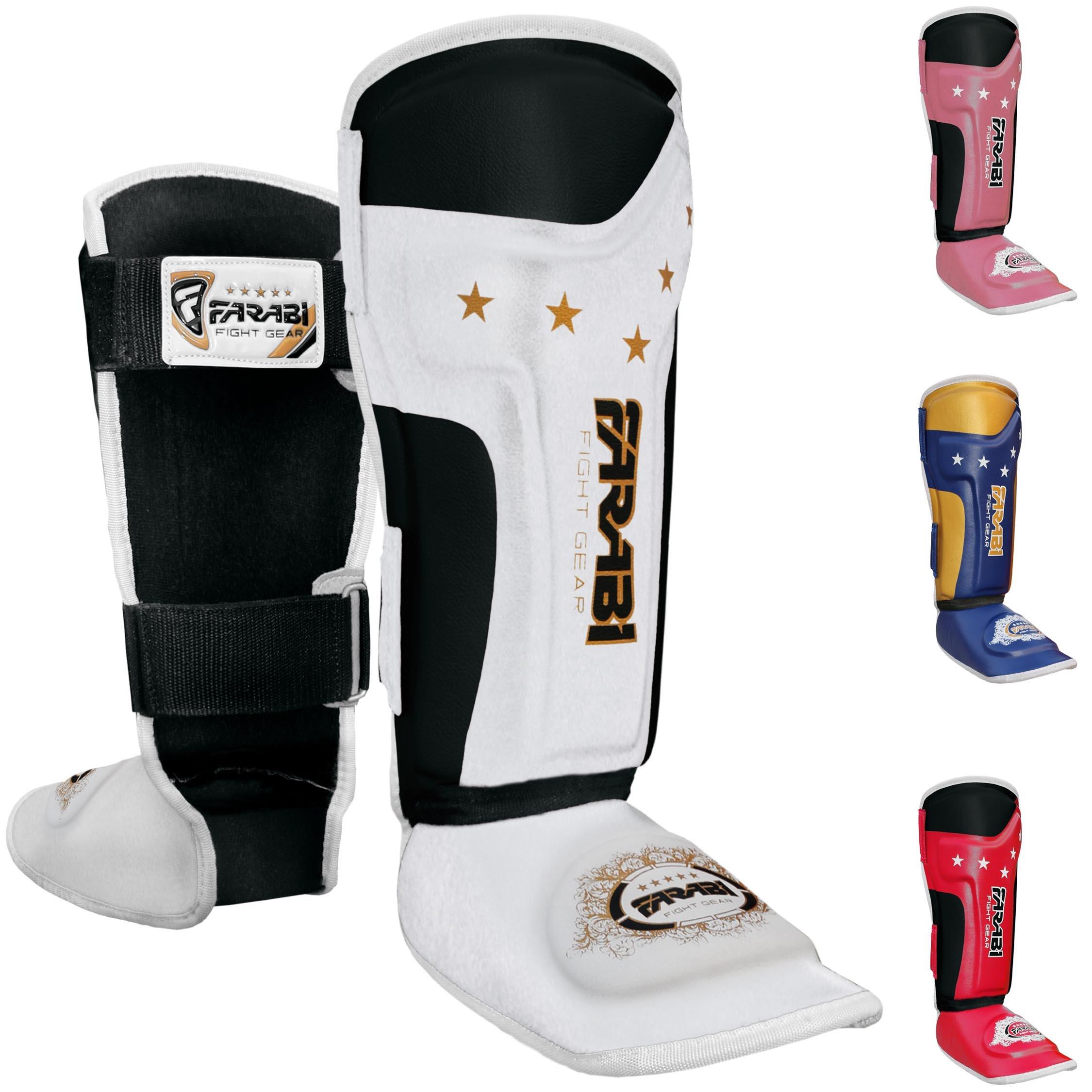 Farabi Kids shin pads shin instep Junior muay thai MMA shin pads shin instep leg and foot protector ... (White/Black) by Farabi