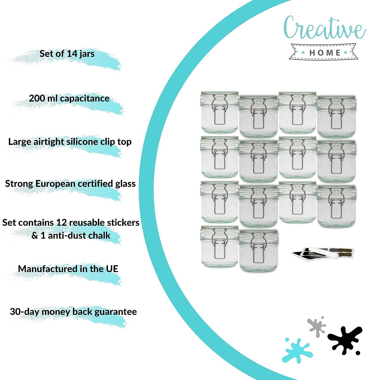 Gessetto 12 Etichette Lavagna Adesive Riutilizzabili 8 x 800ml Creative Home 8 x Barattolo Vetro con Chiusura Ermetico Set Vasetti Vaso Contenitore con Coperchio per Conservare e Organizzare