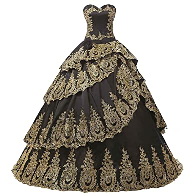a8c8f96481a Aiyi Gothic Black and Gold Lace Cake Ball Gown Prom Evening Quinceanera  Dresses at Amazon Women s Clothing store