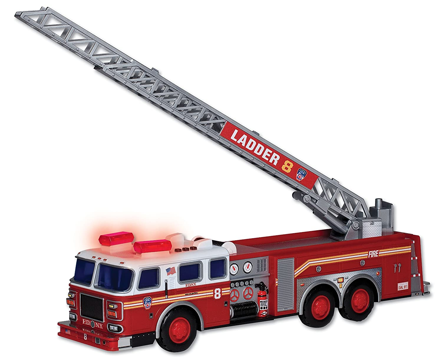 amazon com daron fdny ladder truck with lights and sound toys