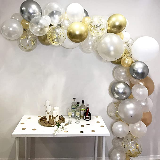 Balloon Garland & Arch Kit 100 Balloons, 5 Colors, Gold, Pearl White, Silver, Gold Confetti & White Balloons, Sm To Xl Balloons, Glue Dots, 17' Decorating Strip For Wedding, Graduation, Baby Shower, Anniversary, Event Decoration And Organic Party Dec... by Zancy Buzz