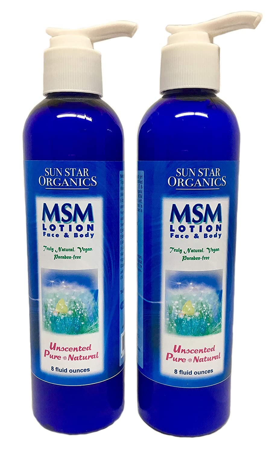 Unscented, Chemical-free MSM (Methylsulfonylmethane) Pure & Natural Lotion - 8oz - 2 PACK