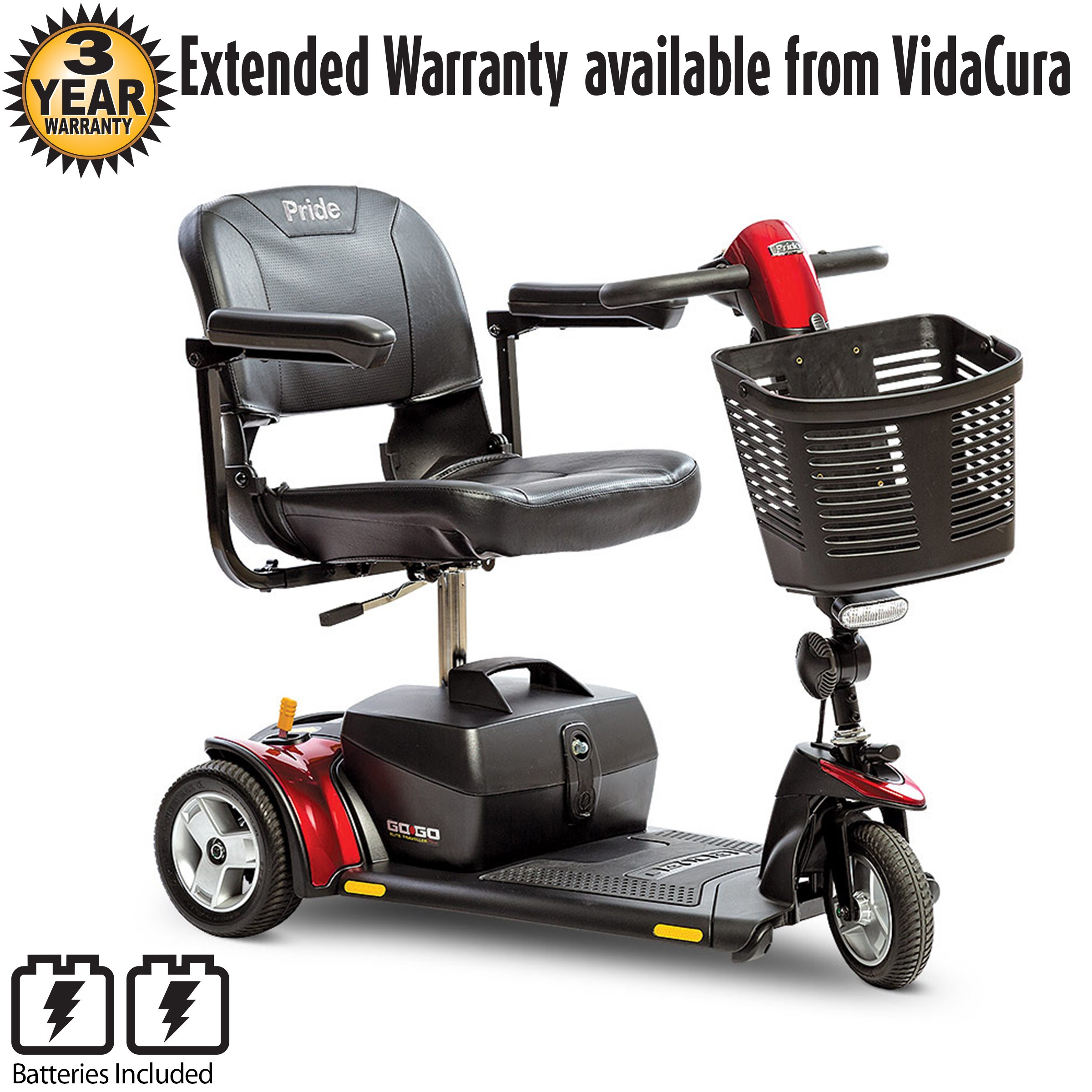 Pride Go-Go Elite Traveller 3-Wheel Scooter with 18 AH Battery Including 5 Year Extended Warranty