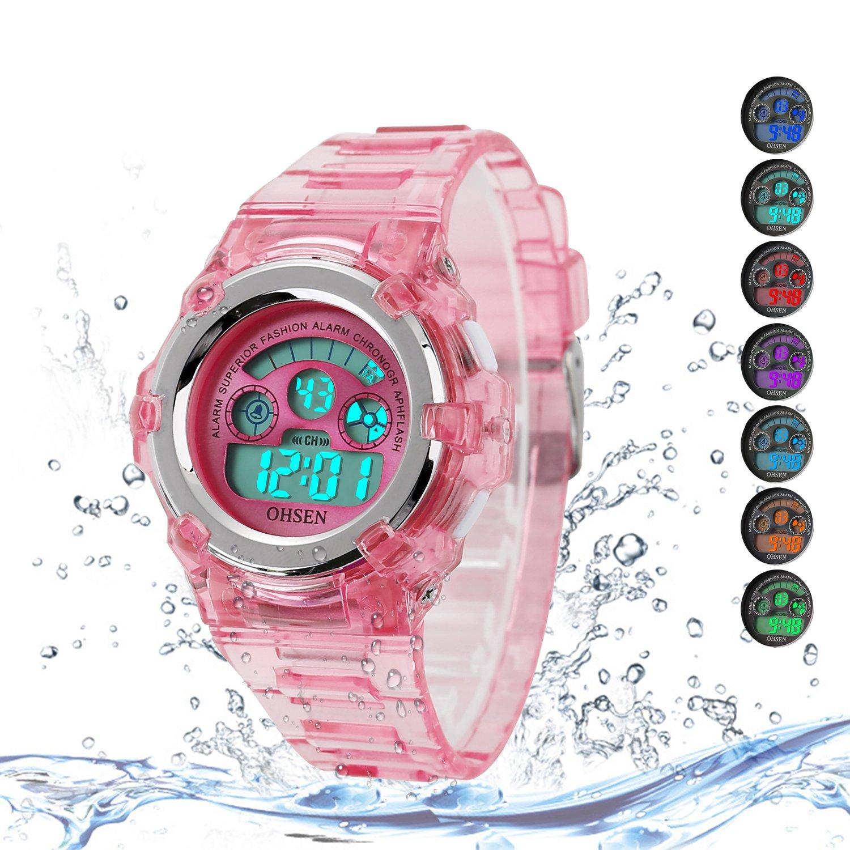 Kids Watches Outdoor Sports Children Watch Stopwatch Quartz Watches Boy Girls 7 Colors LED Digital Alarm Watch by Wdnba