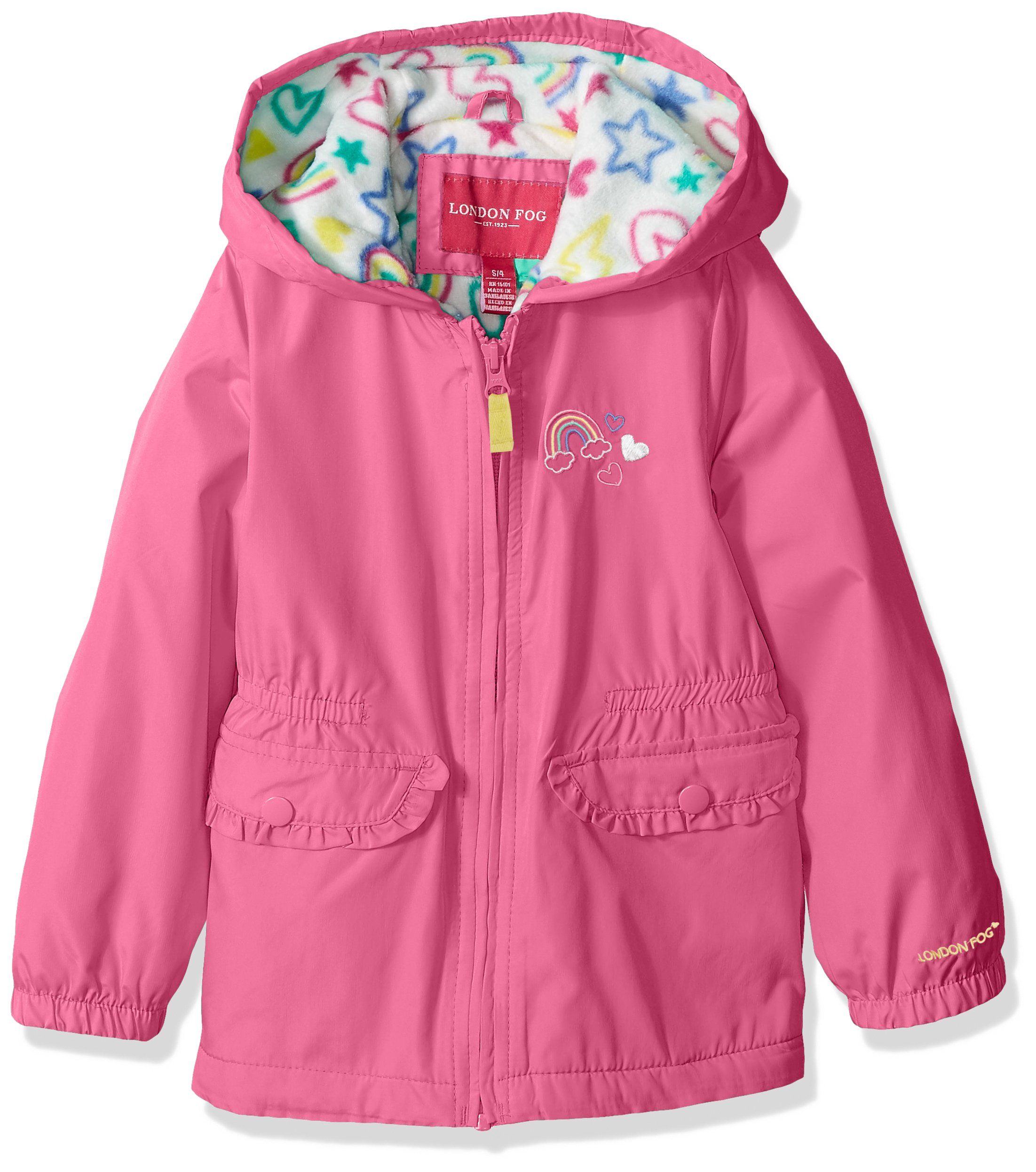 London Fog Little Girls' Fleece Lined Midweight Jacket with Rouched Waist, Phlox Pink, 6X by London Fog