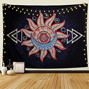 """KHOYIME Sun and Moon Tapestry Alchemy Tapestries with Burning Sun Hippie Psychedelic Wall Hanging Starry Sun Home Decor for Bedroom Living Room Dorm Party Decor (sun, 51""""X59"""")"""