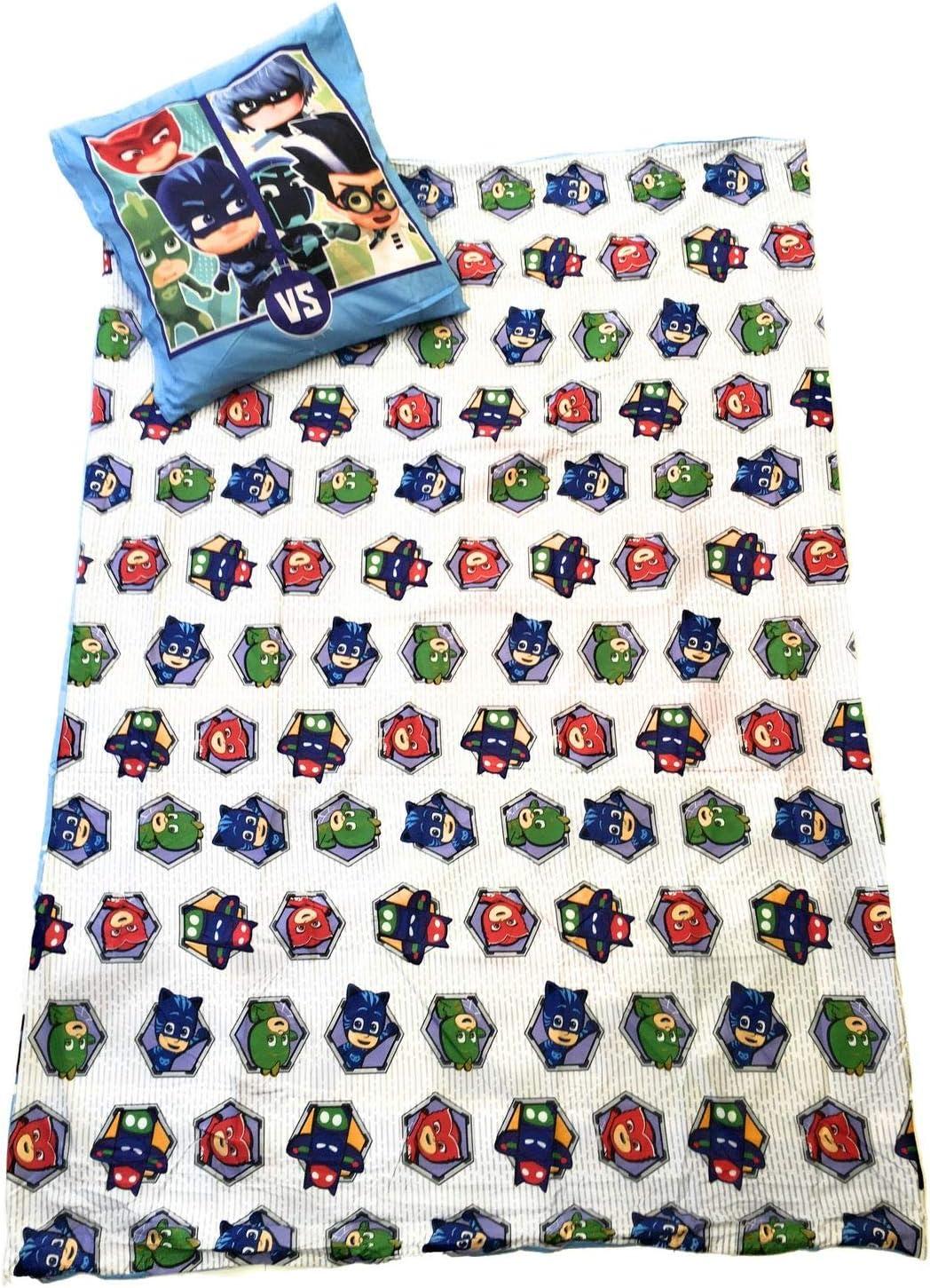 Pyjamasques Housse de Couette r/éversible 140x200 cm Oeko-tex taie 63x63 cm Microfibre Parure de Lit Pjmasks