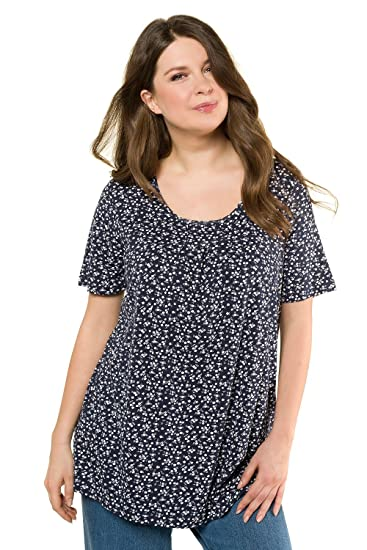 dc7088acd37 Ulla Popken Women s Plus Size Two Color Floral Print Knit Top 716259  Ulla  Popken  Amazon.co.uk  Clothing