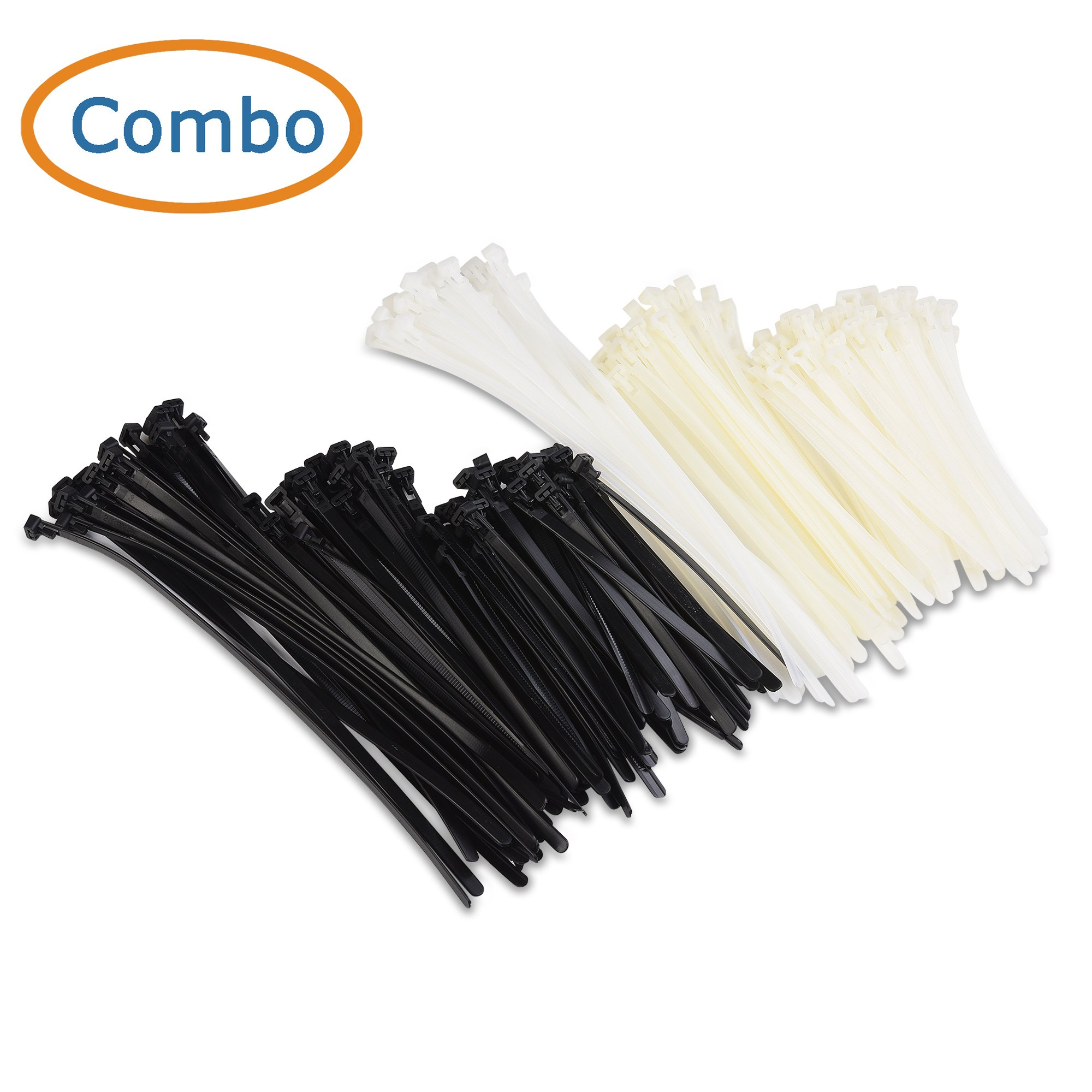 Cable Matters (Combo Pack) 200 Reusable 6+8+12-Inch Nylon Cable Ties in Black & White by Cable Matters (Image #2)