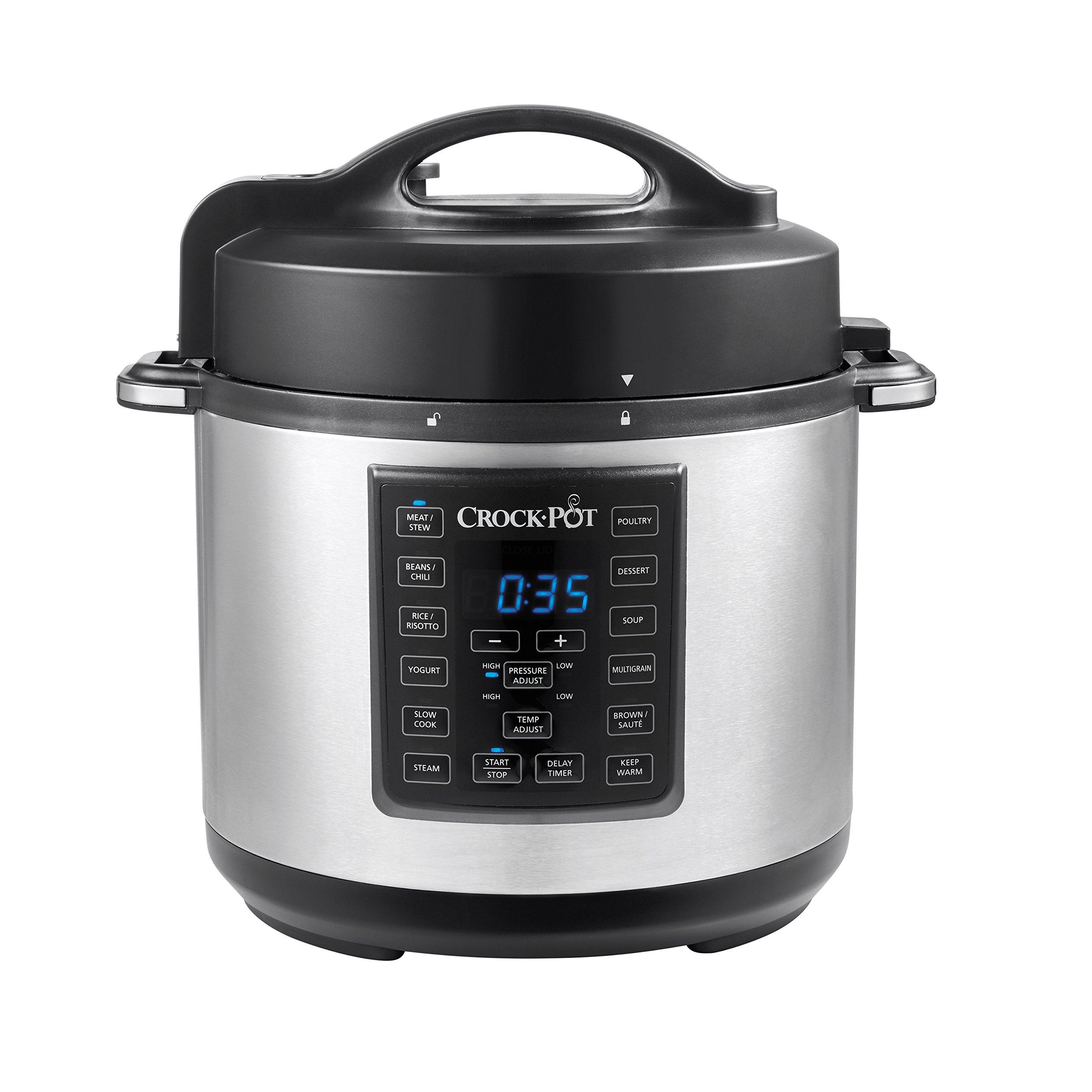 Crock Pot 6 Quart 8 in 1 Multi Use Express Crock Programmable Pressure Cooker, Slow Cooker, Sauté & Steamer   Stainless Steel (SCCPPC600 V1) by Crockpot