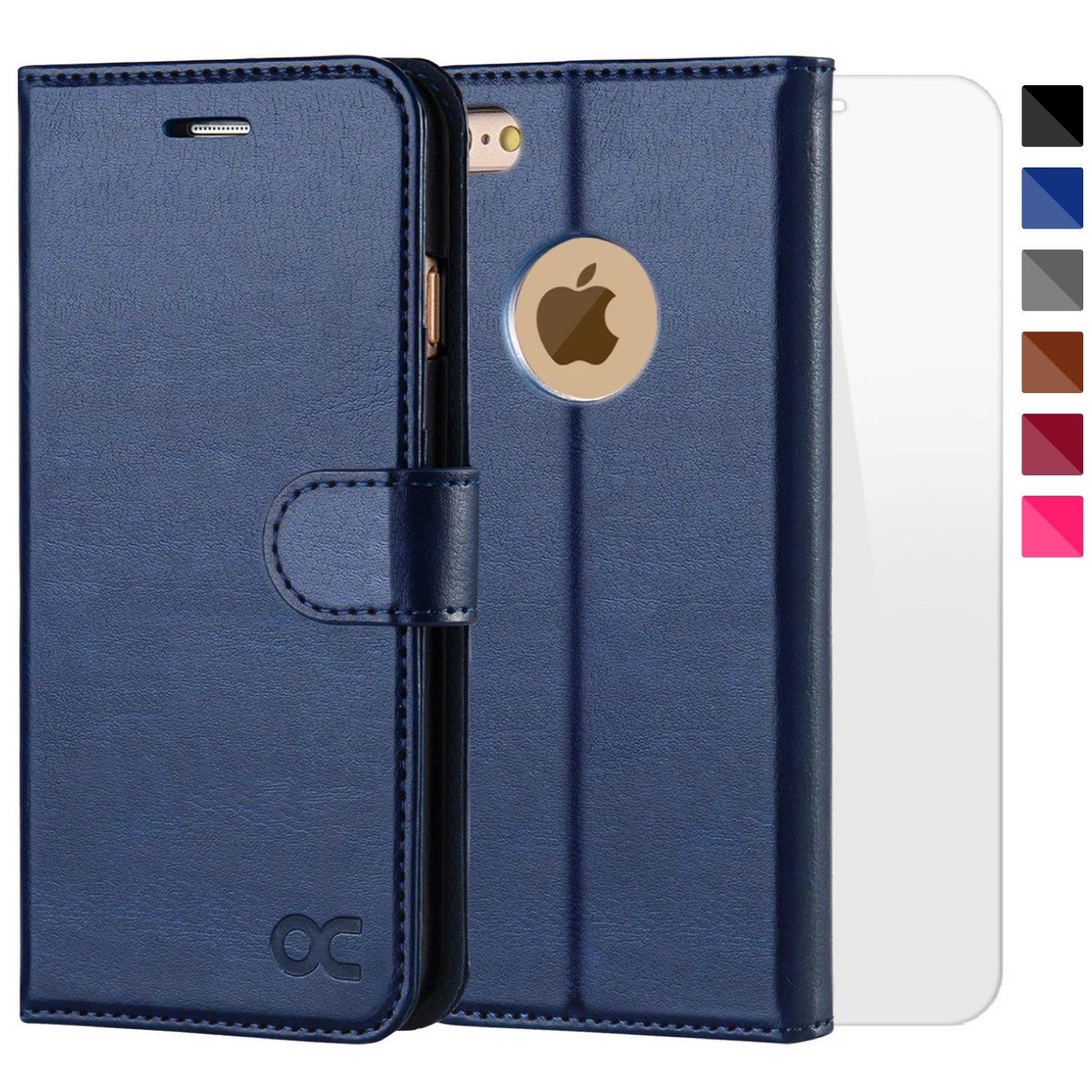 OCASE iPhone 6S Case [Free Screen Protector Included] Leather Wallet Flip Case for iPhone 6 / 6S Devices 4.7 Inch - Blue