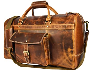 c22d553d5bf3 Image Unavailable. Image not available for. Color  Aaron Leather 20 inch Full  Grain Leather Weekender Duffle Bag ...