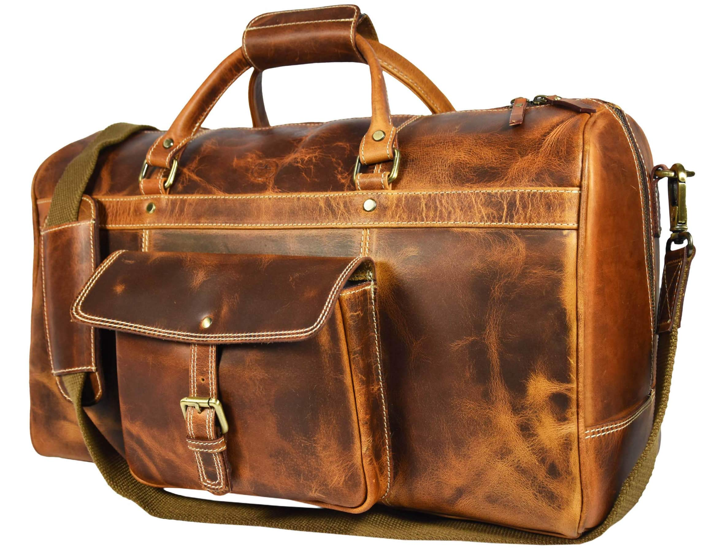 Aaron Leather 20 inch Full Grain Leather Weekender Duffle Bag (Caramel)