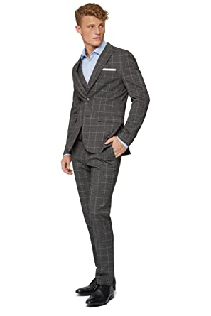 f79d86bc842b9 Moss London Men s Skinny Fit Charcoal White Check Suit Jacket 38S Grey