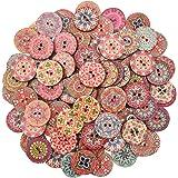 5 Grandes De Madera Rojo Y Blanco remolino Lollipop Botones 30 Mm