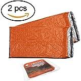 2 Stück - Bramble Notfall Biwak-Sack - Survival Schlafsack – Kälteschutz – Bushcraft – thermo-Isolierung leuchtend orange Außenseite, reflektierende Innenseite