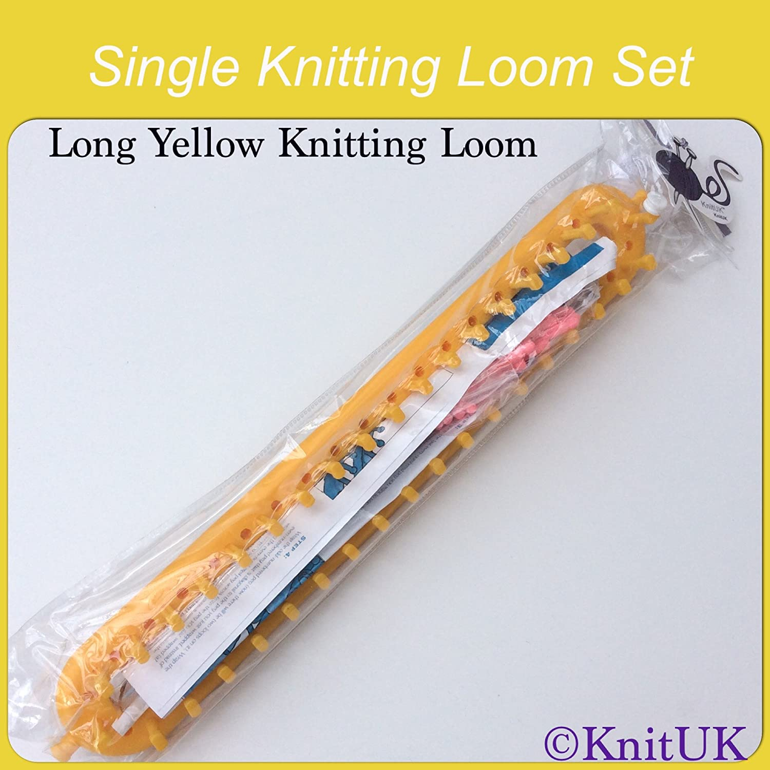Long Yellow Knitting Loom 36cm : 38 pegs 38 pink extra pegs