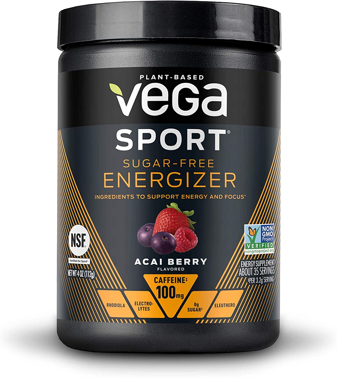 Vega Sport Sugar Free Energzier Acai Berry (35 Servings, 4.0 Ounce Tub) - Vegan, Keto-Friendly, Gluten Free, Sugar Free, All Natural, Pre Workout Powder, Non GMO (Packaging May Vary)