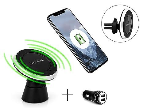 MyGadget Cargador Qi Inalámbrico de Coche - Soporte magnético para Galaxy S9 S8 Apple iPhone X XR XS MAX - Carga Wireless Agarre Doble con Cable y ...