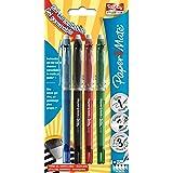 PaperMate Replay Premium, stylo gel effaçable, pointe moyenne 0,7mm, couleurs assorties, lot de 4