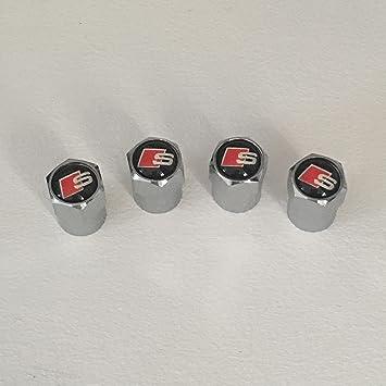 S-Line negro Logo latón cromado válvula de polvo Caps