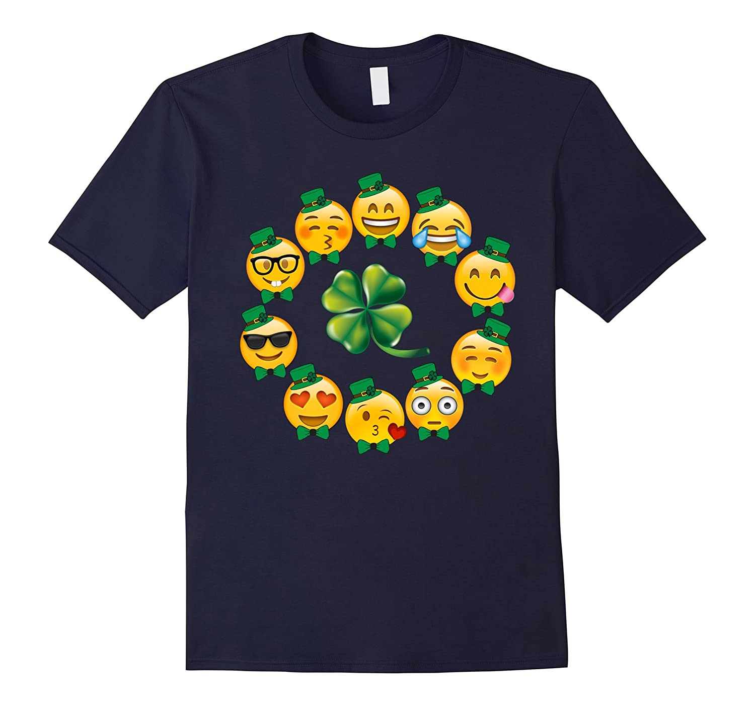 Emoji T Shirt Circle of Leprechaun Emoji Four Leaf Clover-TD