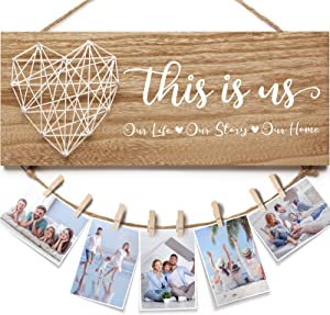 Housewarming Gifts New Home Wall Decor Sign, This Is Us Family Picture Frame Farmhouse Rustic Wood Hanging Photo Holder, Gifts for Housewarming New Homeowners or Couples, Birthday Gifts for Mom Women
