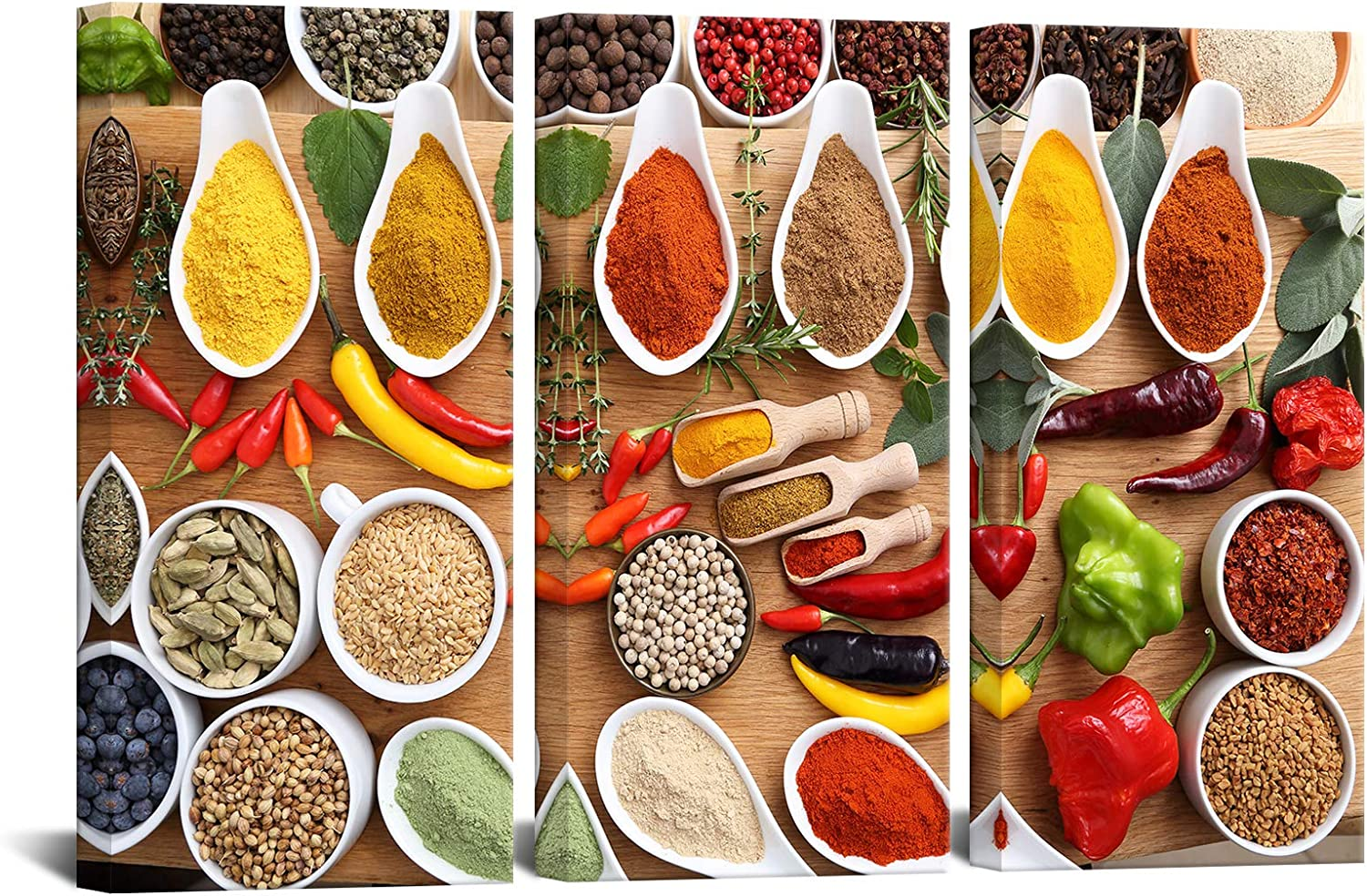 Biuteawal 3 Panels Kitchen Pictures Wall Decor Spices and Spoon Vintage Canvas Wall Art Red Pepper Cooking Seasoning Poster Food Paintngs Print on Canvas Framed Ready to Hang 16x32inchx3pcs