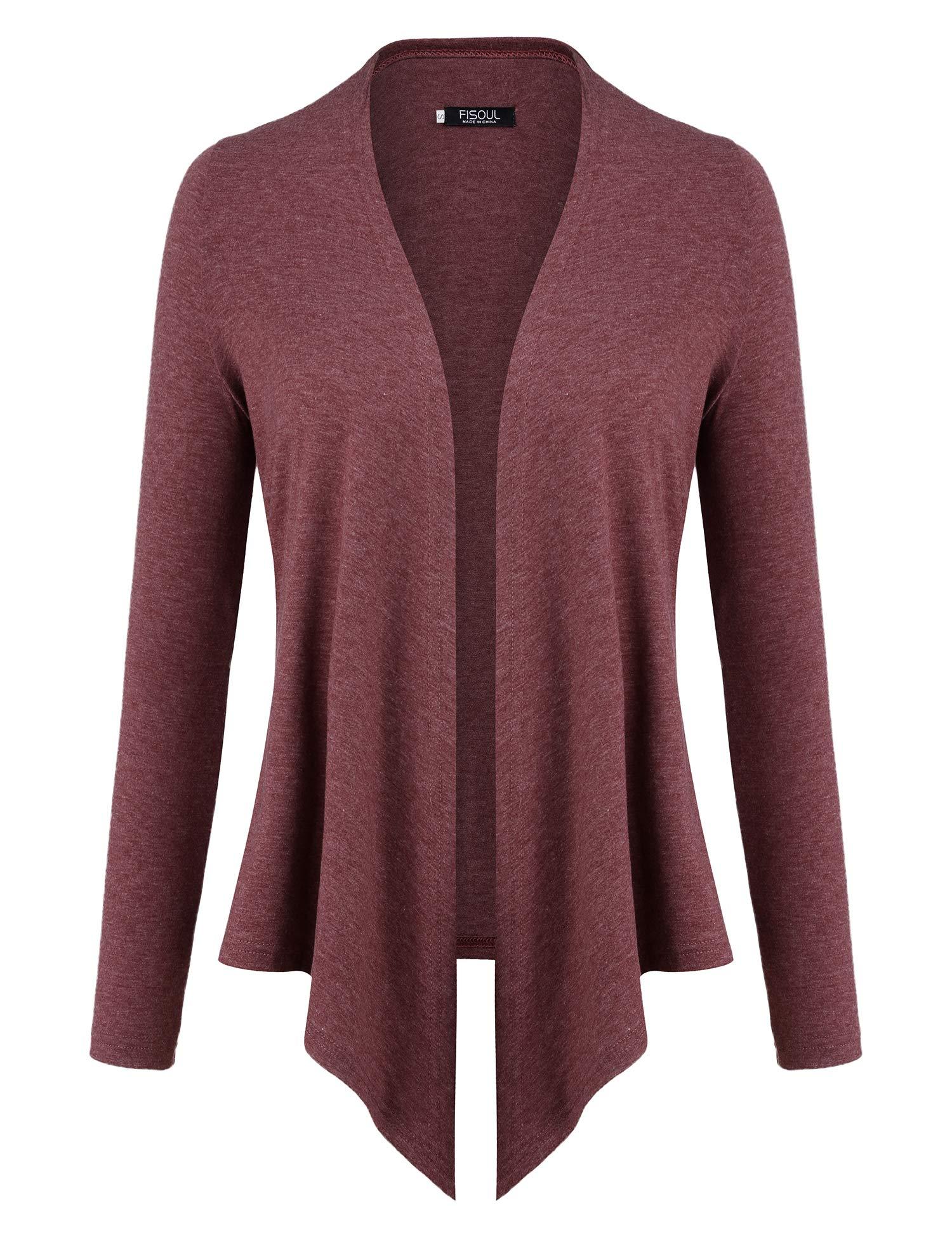 FISOUL Women's Cardigans Open Drape Front Coats Long Sleeve Lightweight Knit Jackets Wine S