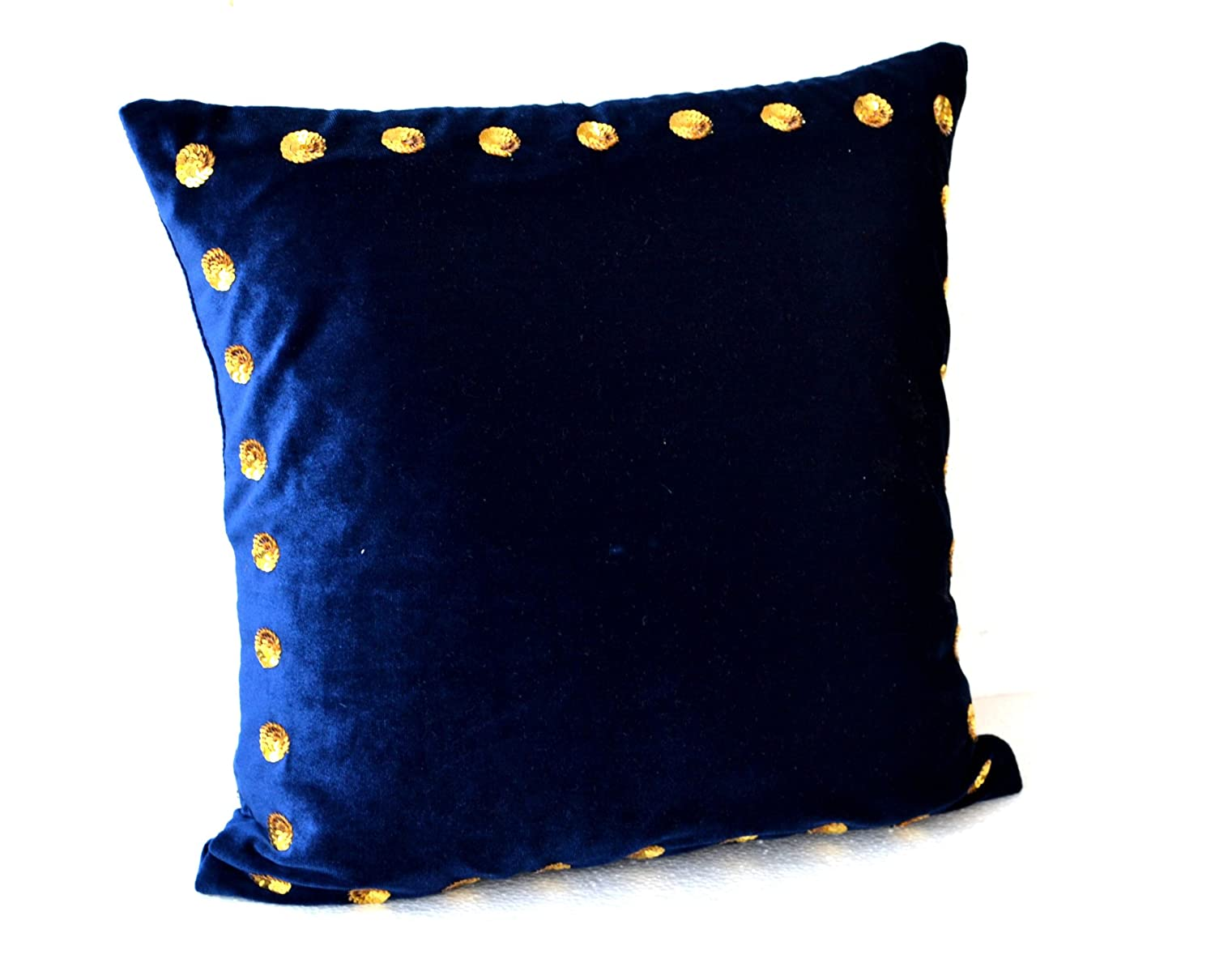 Navy blue and yellow decorative pillows - Amazon Com Navy Blue Pillow Covers Navy Blue Pillow In Velvet With Gold Sequin Detail 16x16 Navy Blue Throw Pillows In Velvet Toss Pillows Gift