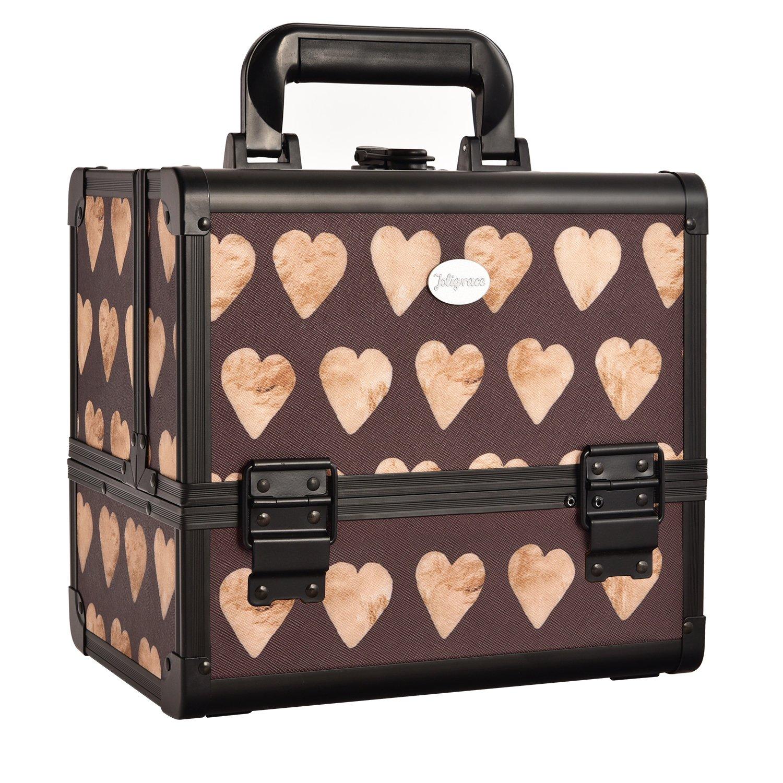 Caja De Maquillaje Con Espejo y Portaescobillas Estuche Cosmético Organizadores de Joyería Bloqueable Ligero Con Teclas (Patrón de Amor) Uuhome