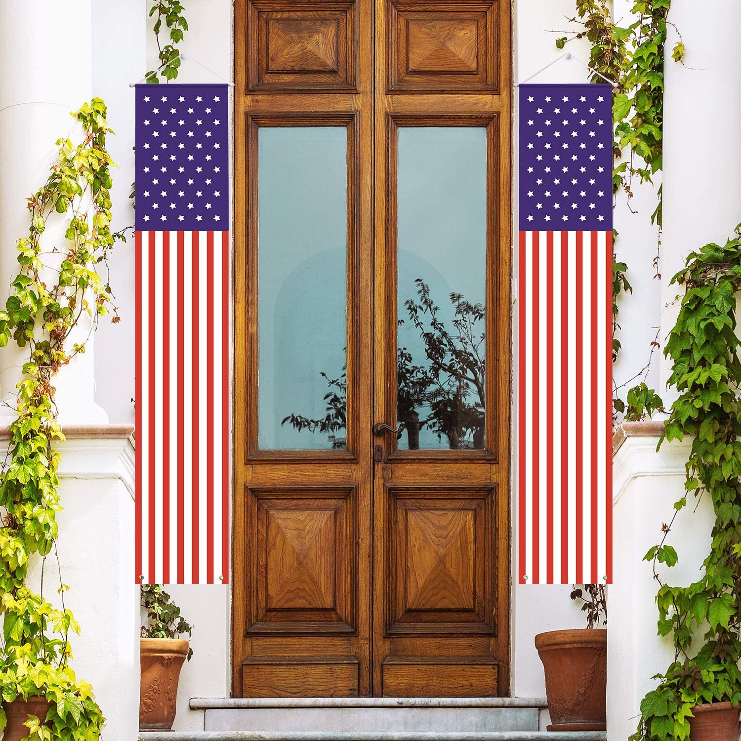 Koopro National Flag Day Decoration Porch Sign Labor Day Hanging Banner Vertical The Stars and The Stripes American Flag for Front Door Yard Indoor Outdoor Decor Memorial Day Independence Day