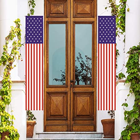Skrantun 3 Pcs Independent Day Picks National Flag Decorations for 4th of July with Wood Stars Home OfficeWedding Decor