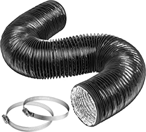 VIVOSUN 8 Inch 25 Feet Black Non-Insulated Flex Air Aluminum Ducting for HVAC Ventilation w/Two 8 Inch Stainless Steel Clamps