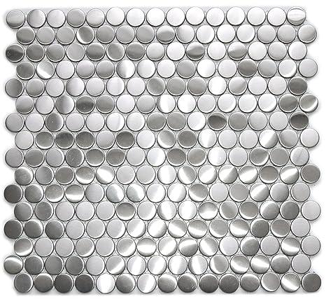 Amazon.com: Penny redondo patrón mosaico azulejos de metal ...