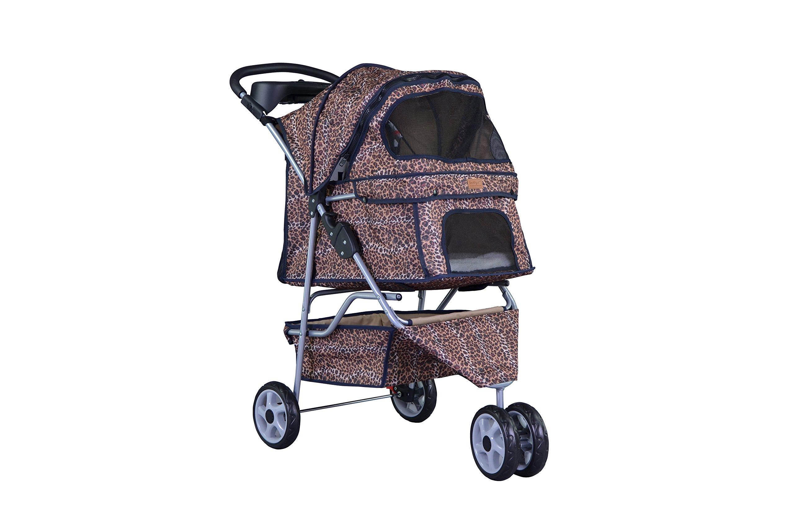 All Terrain Extra Wide 3 Wheels Pet Dog Cat Stroller w/RainCover Leopard Skin