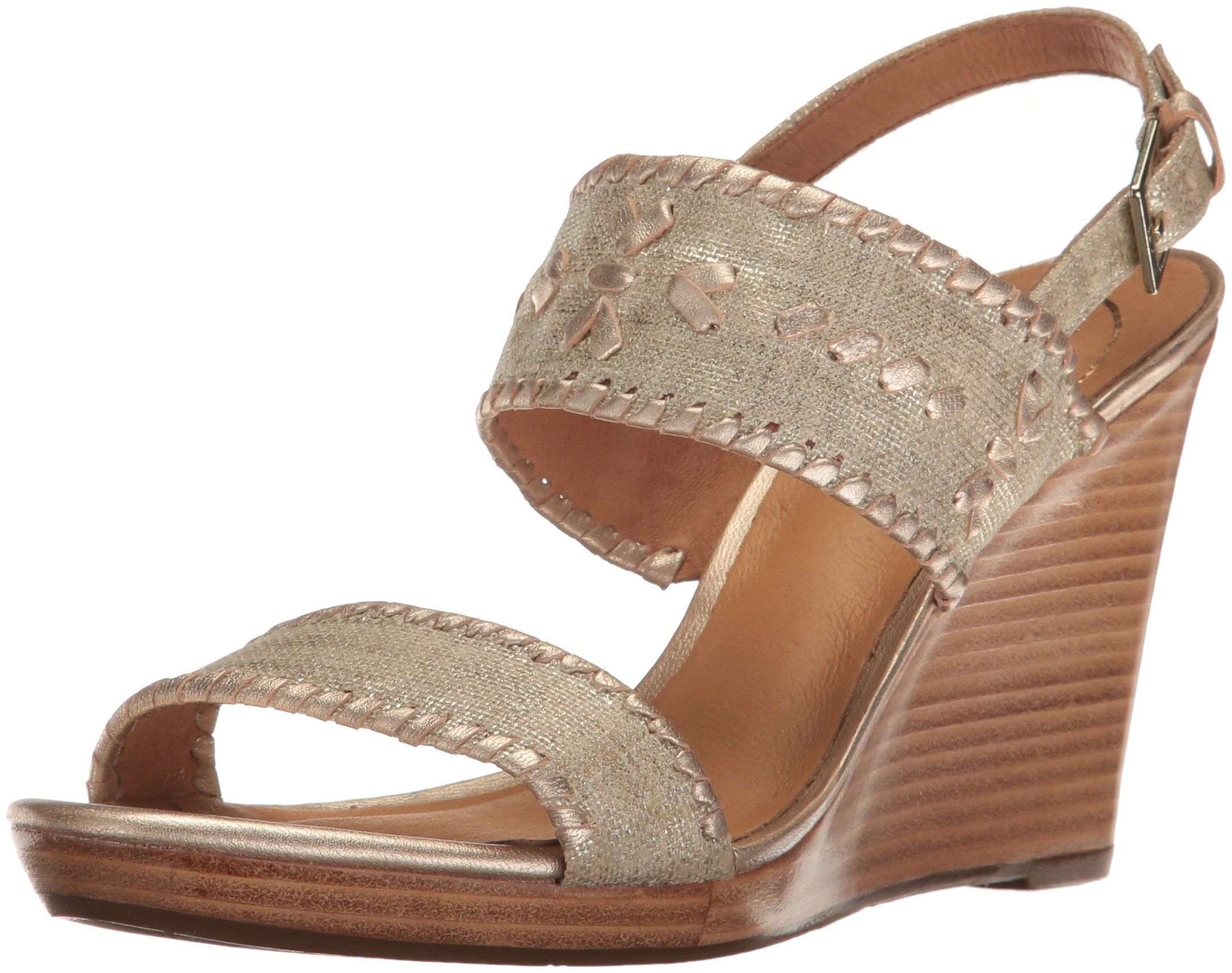 Jack Rogers Women's Vanessa Stacked Wedge Sandal, Platinum, 9.5 M US