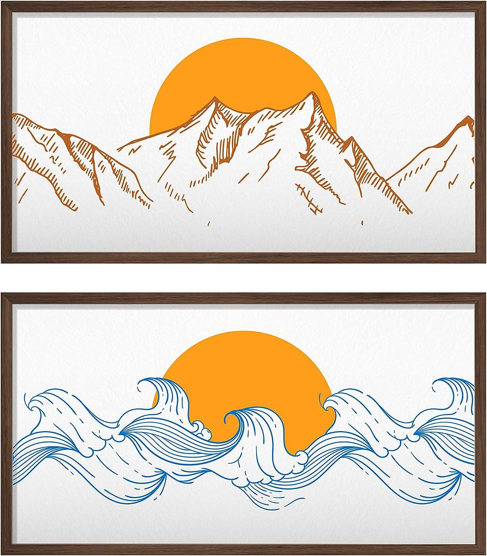 NUSNOS Framed Wall Art; Minimalist Wall Art SEA & MOUNTAIN Wall Decor Canvas Art for Modern Home Decor; 2 x Japanese Wall Art frames. Each frame 23 x 12.5 in: Dark WALNUT Color Frame