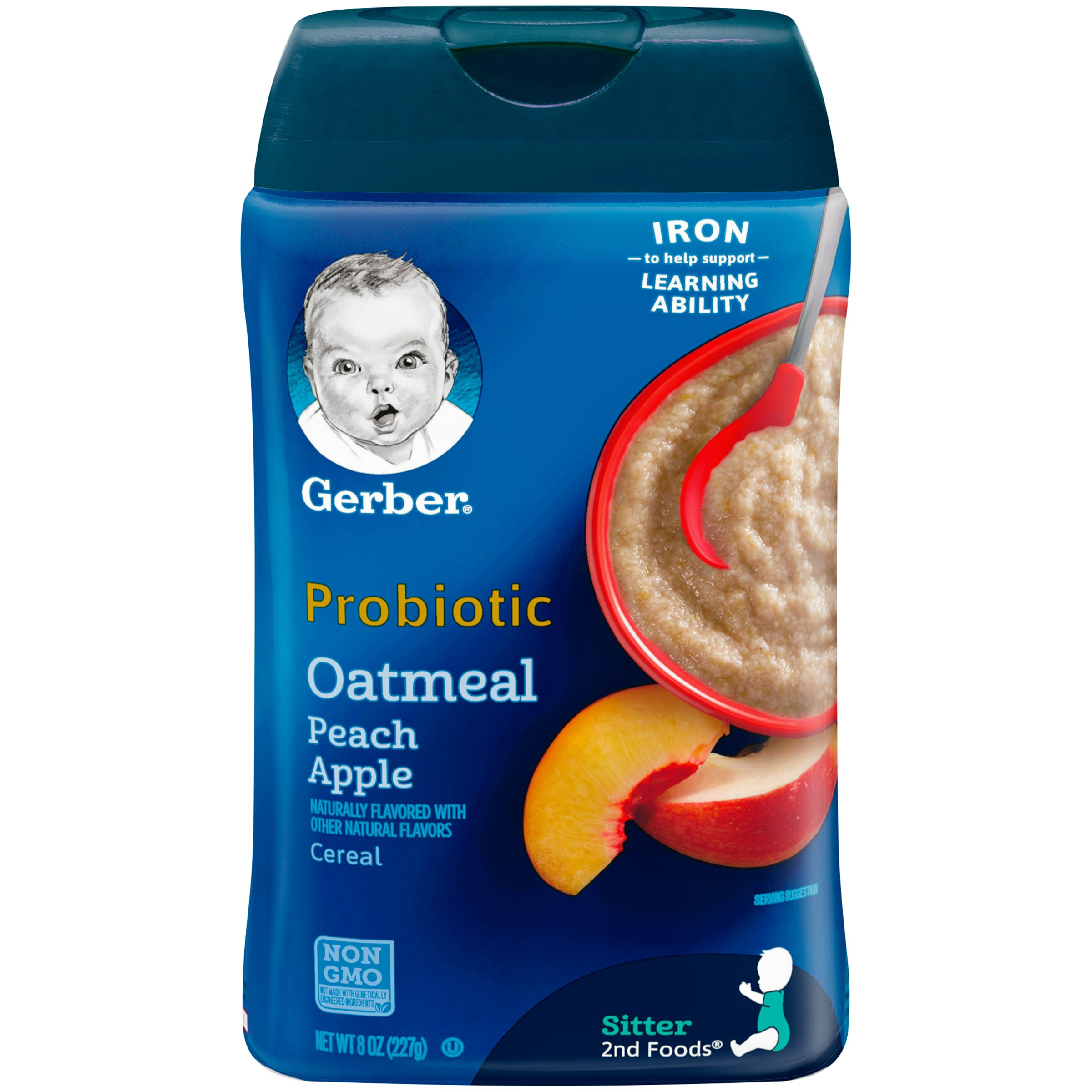 Gerber Baby Cereal Probiotic Oatmeal & Peach Apple Baby Cereal Canister, 8 oz by Gerber Baby Cereal