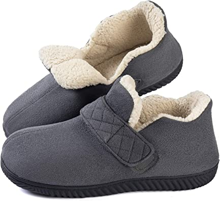 Cozy Memory Foam Slippers Warm Fur Lined House Shoes Indoor Outdoor Anti-Skid Rubber Sole Black