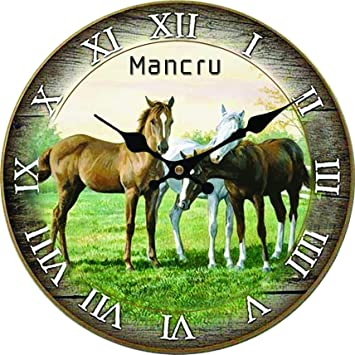 Amazon.com: Mancru 0.4 Inch Thickness Vintage Not Cover Silence Wall Clock Shabby Wooden Large Round Non-Ticking Quiet Quartz Wall Clock Decoration Wall Art ...