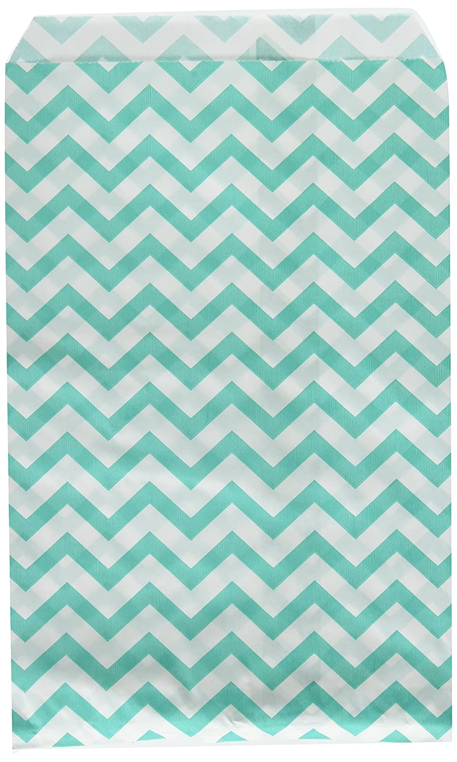 """200 pcs Turquoise Chevron Paper Gift Bags Shopping Sales Tote Bags 6"""" x 9"""" Zig Zag Design-Caddy Bay Collection"""
