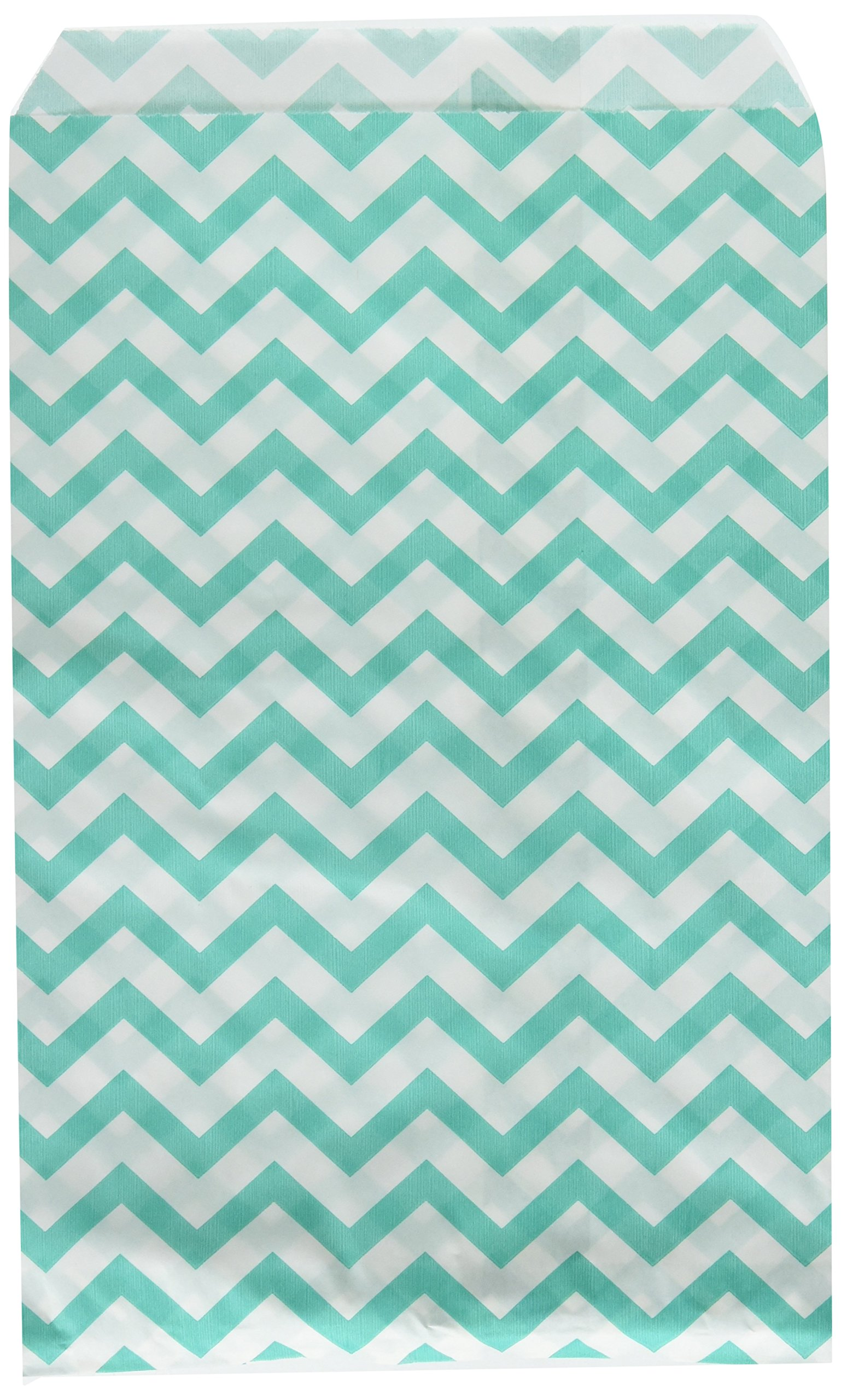 "200 pcs Turquoise Chevron Paper Gift Bags Shopping Sales Tote Bags 6"" x 9"" Zig Zag Design-Caddy Bay Collection"