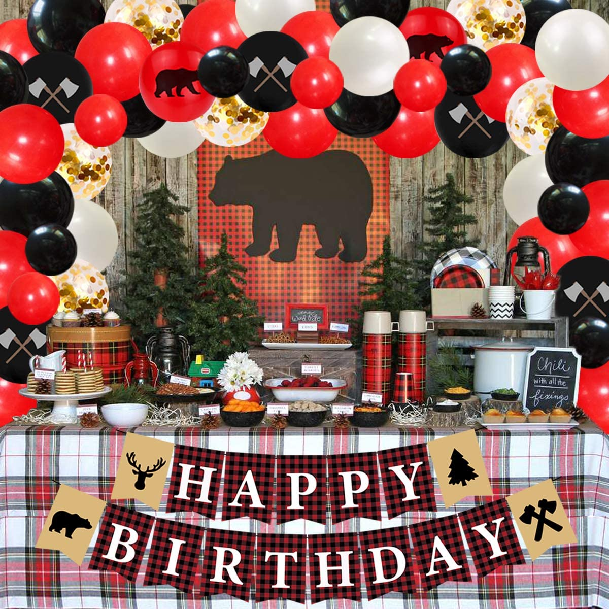 Camping Bear Wild One Birthday Lumberjack Party Decorations Balloon Garland Arch Kit Buffalo Plaid Birthday Party Supplies Banner for Boys Girls 1st 2nd 3rd Birthday