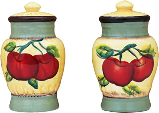 Cg 10230 Red Apple with Stem /& Leaf Salt /& Pepper 2Piece Set Collectible