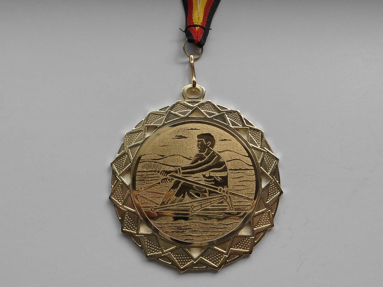 Gold Kanu Fanshop L/ünen Medaillen mit Medaillen-Band - Gro/ße Medaille Stahl 70mm Emblem 50mm Rudern e111 Kajak