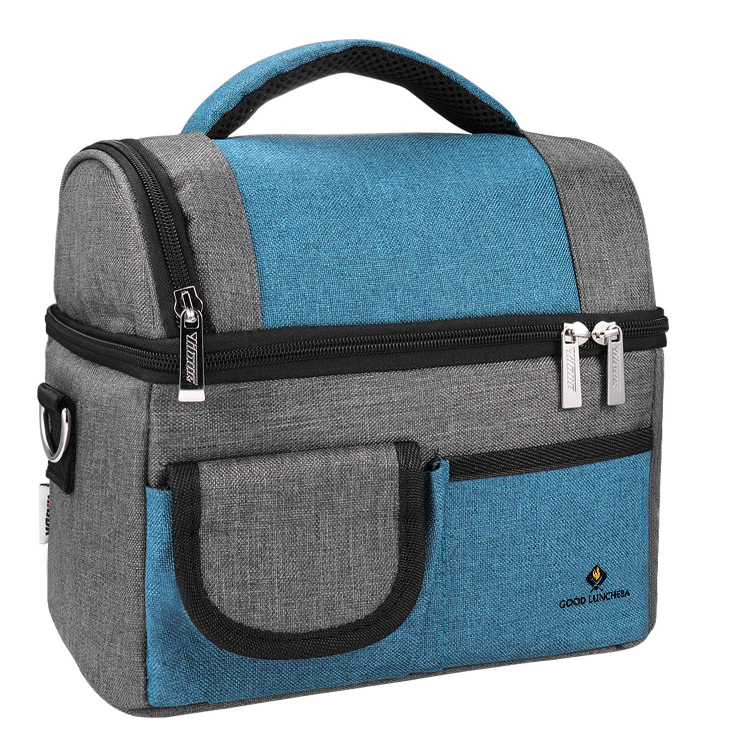Large Lunch bags - Waterproof Insulated Lunch Bag - Cooler Tote lunch bags for women, Men with Double Deck Cooler