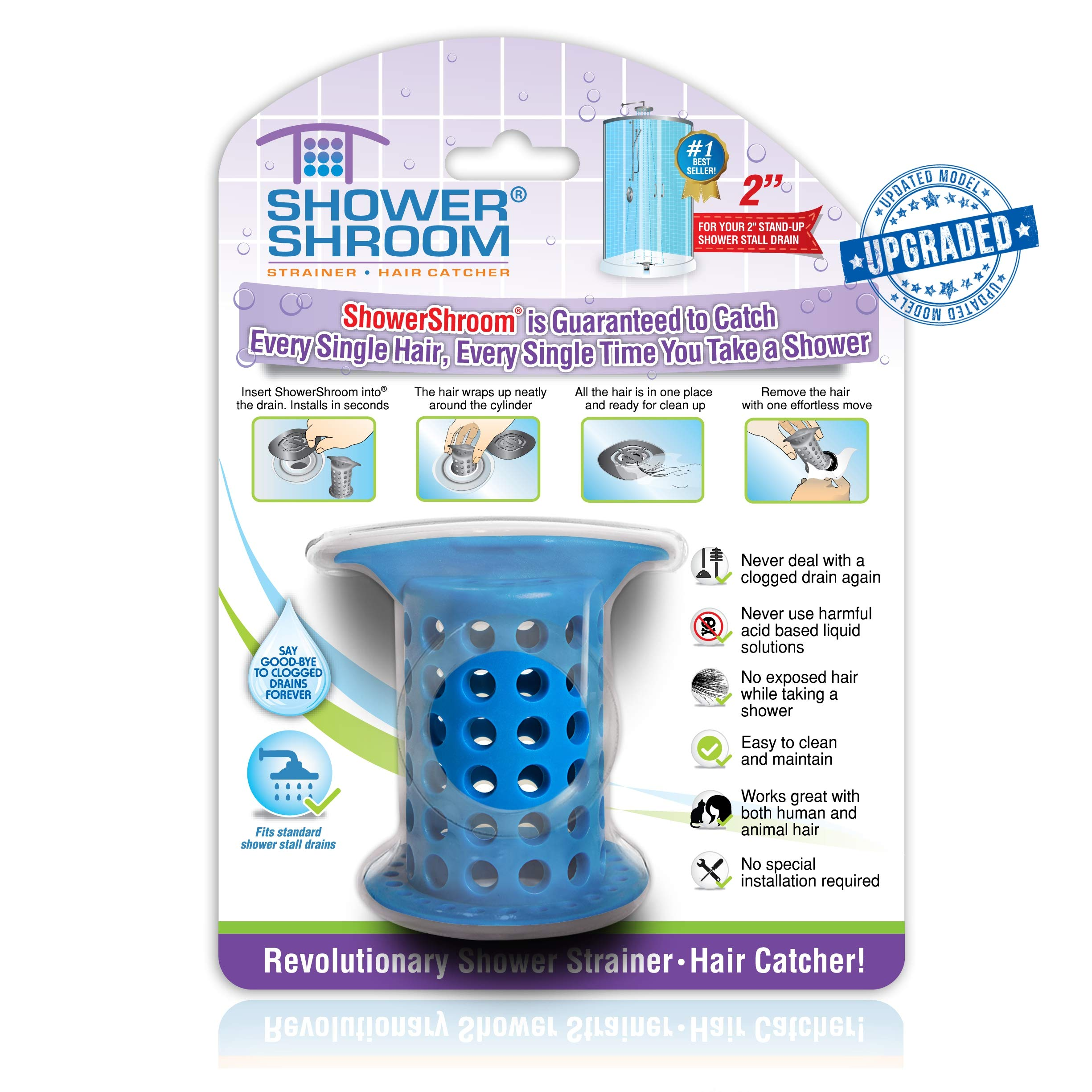 ShowerShroom the Revolutionary 2'' Stand-Up Shower Stall Drain Protector Hair Catcher/Strainer, Blue by ShowerShroom